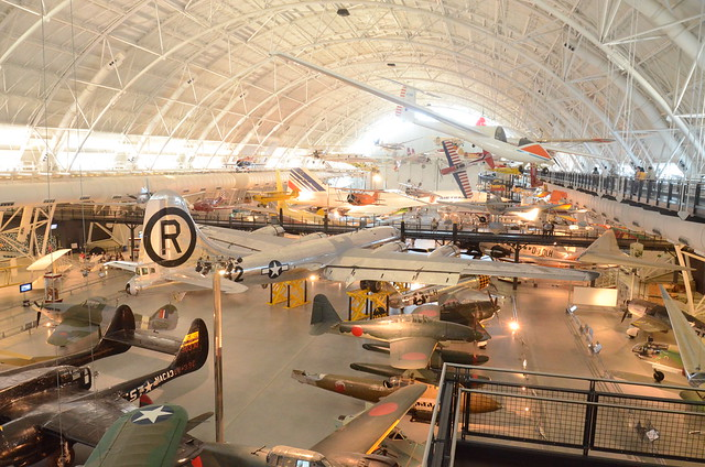 Steven F. Udvar-Hazy Center: View of south hangar, including B-29 Superfortress Enola Gay, a glimpse of the Air France Concorde, and many others