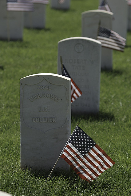 Jefferson Barracks National Cemetery, in Saint Louis County, Missouri, USA - grave of unknown soldier