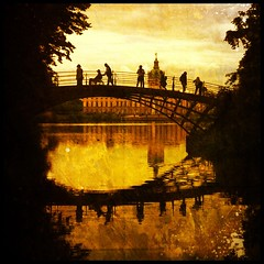 Sundown. (Sascha Unger) Tags: bridge light people urban sun lake berlin castle art silhouette museum architecture germany garden see licht angle perspective palace menschen sascha architektur brcke schloss sonne garten perspektive charlottenburg iphone 100cameras coolfx dynamiclight lietzenburg hipstamatic sascha2010 saschaunger scratchcam