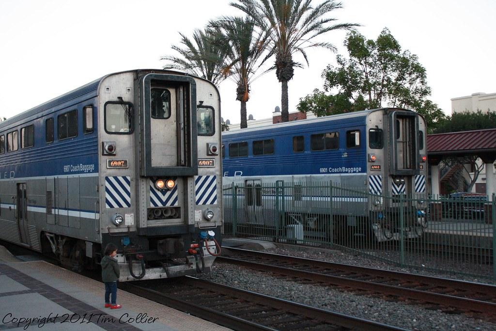 Amtrak 6907 and 6901 wait in Fullerton, Ca