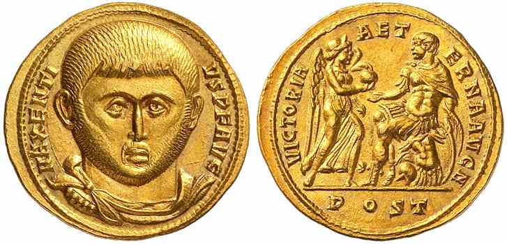 An Excessively Rare, Magnificent, and Highly Important Roman Gold Aureus of Maxentius (307-312 C.E.), With a Stunning Facing Portrait, Of the Very Highest Rarity and Importance, One of Two Known, From