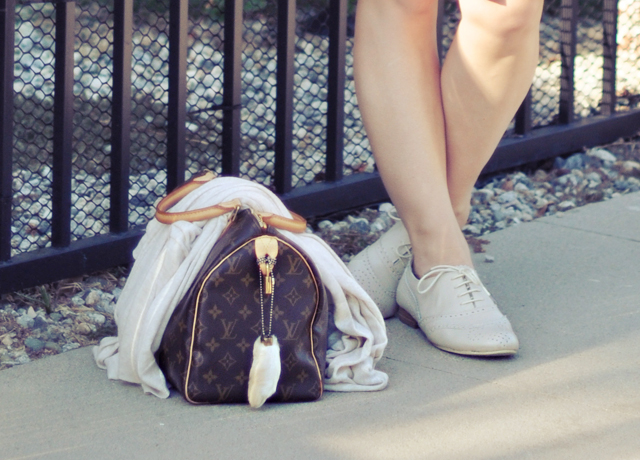 louis vuitton speedy bag and ivory oxford lace ups