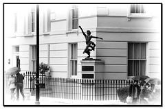 Dancing in the rain... (stmoritz1960) Tags: london art statue umbrella dancer raining lambeth pimlico millbank sw1 jete bwvignette riverbankwalk enzoplazotta stmoritz1960