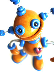 Gold Garrick Robot Sculpture - Close Up