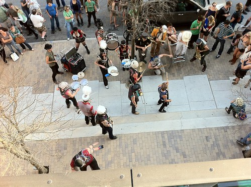 Street Marching Band serenades the ACL Live balcony