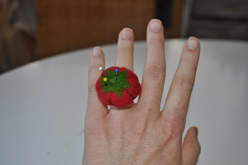 Tiny Tomato Pincushion Ring
