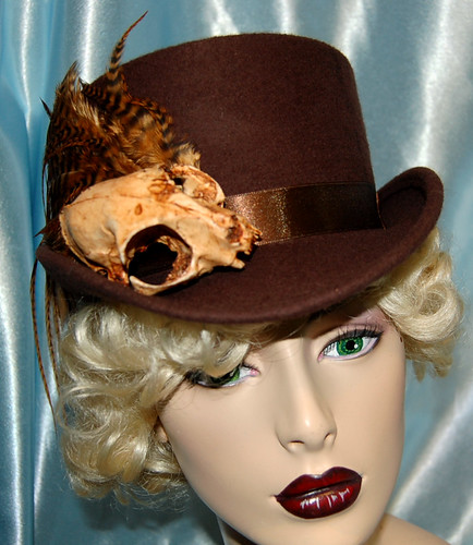 Full Size Top Hat, Brown with Skully