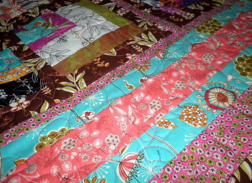 Quilting Complete and the binding is started