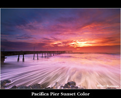 Pacifica Pier Sunset Color (davidyuweb) Tags: sanfrancisco california sunset usa 6 color pier long exposure slow 9 wave filter lee shutter reverse pacifica sfbay sfist gnd