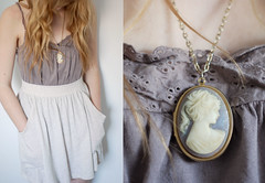(carrie lynn.) Tags: light red portrait white girl fashion self hair clothing skirt curly blonde cameo carrie camisole lookbook tralala forever21 locket carrielynnunger