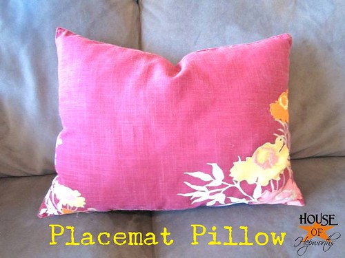 Make a pillow from a placemat.  Easiest DIY pillow tutorial ever.  www.houseofhepworths.com
