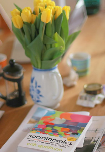 Tulips and book