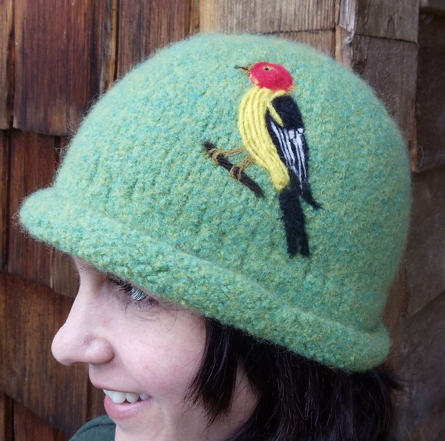 Handknit Felted Hat With Needle Felted Western Tanager Bird