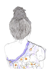 querida Lucha. (puntobipolar) Tags: flowers lines illustration ink hair punto little drawing sketches lucha bipolar anonym moo