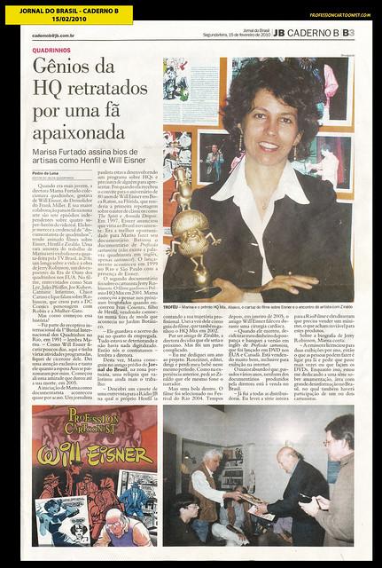 """""""Gênios da HQ retratados por uma fã apaixonada"""" - Jornal do Brasil - 15/02/2010"""