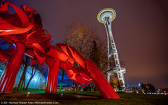 Alexander Liberman's Olympic Iliad and the Space Needle (Michael Holden) Tags: seattle urban sculpture art night washington saturated spaceneedle publicart hdr installations pacificsciencecenter olympiciliad fav10 imaxtheater alexanderliberman michaelholden