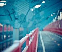 williamsburg bridge (pamela ross) Tags: bridge blue red newyork pen fence 50mm minolta bokeh f14 olympus line lane williamsburg williamsburgbridge ep1 fencefriday