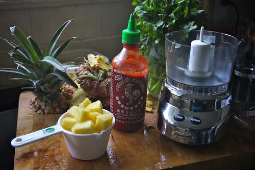 making pineapple salsa!