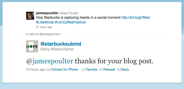 Starbucks UK MD Tweet