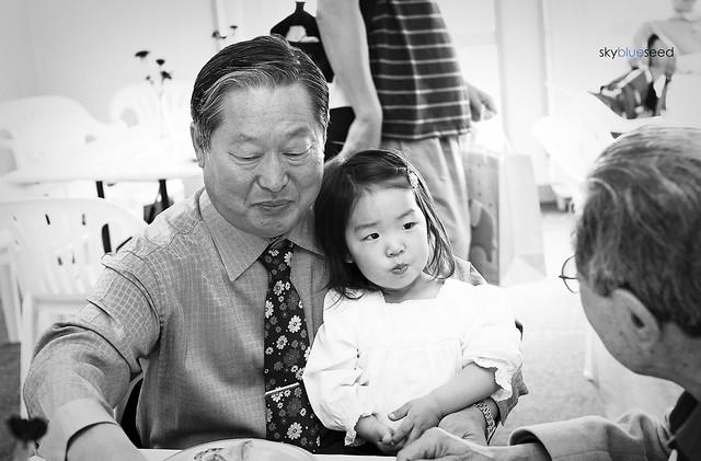 in Grandpa's lap