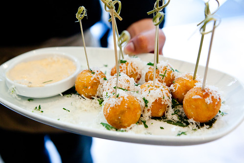 Crab and Shitake Arancini with Spicy Tasso Aioli