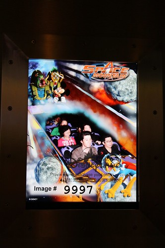 On-ride photo from Space Mountain - everyone just takes a photo of the preview screen, instead of buying a copy!