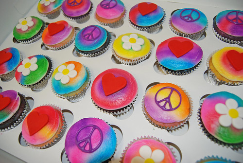 Tie dye cupcakes 2nd birthday cupcake tower hearts, flowers and peace signs