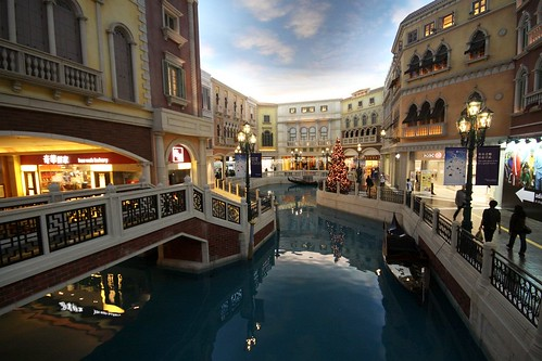 One of many canals running through the shopping mall of The Venetian Macao