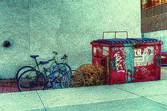 Bicycles  and Garbage Bin (jta1950) Tags: street city bike bicycle garbage downtown grafitti montreal bin panasonic bicycles bicyle lx5 dmclx5