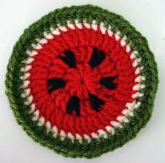 watermelon coaster (Olga Mavrofrydi) Tags: fruit toy colours handmade crochet decoration craft watermelon slice round hook coaster freepattern