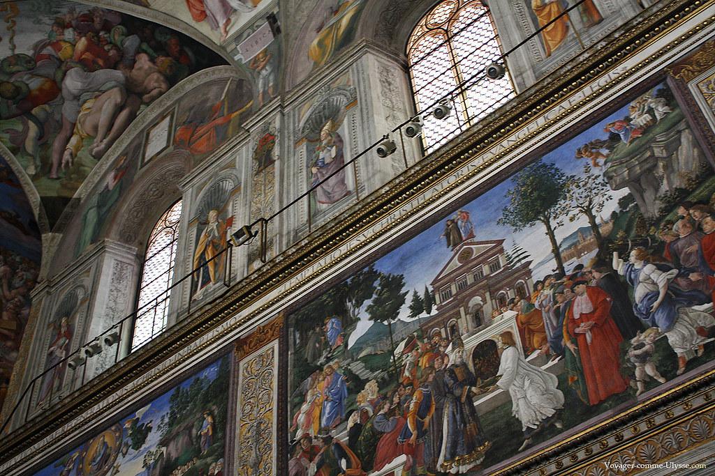 Peinture de Boticelli de la Chapelle Sixtine, la Tentation de Christ