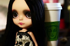 Two of my favorite things... (voo_doolady) Tags: coffee doll starbucks sparrow blythe happibug