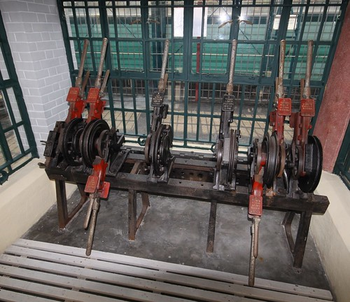 Double wire lever frame at the Hong Kong Railway Museum