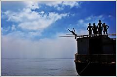 Band of Brothers II (Sopnochora) Tags: sky cloud boys river jump pattern action bangladesh maowa mdhuzzatulmursalin sopnochora vagyakul