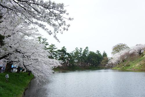 the moat around Hirosaki Castle