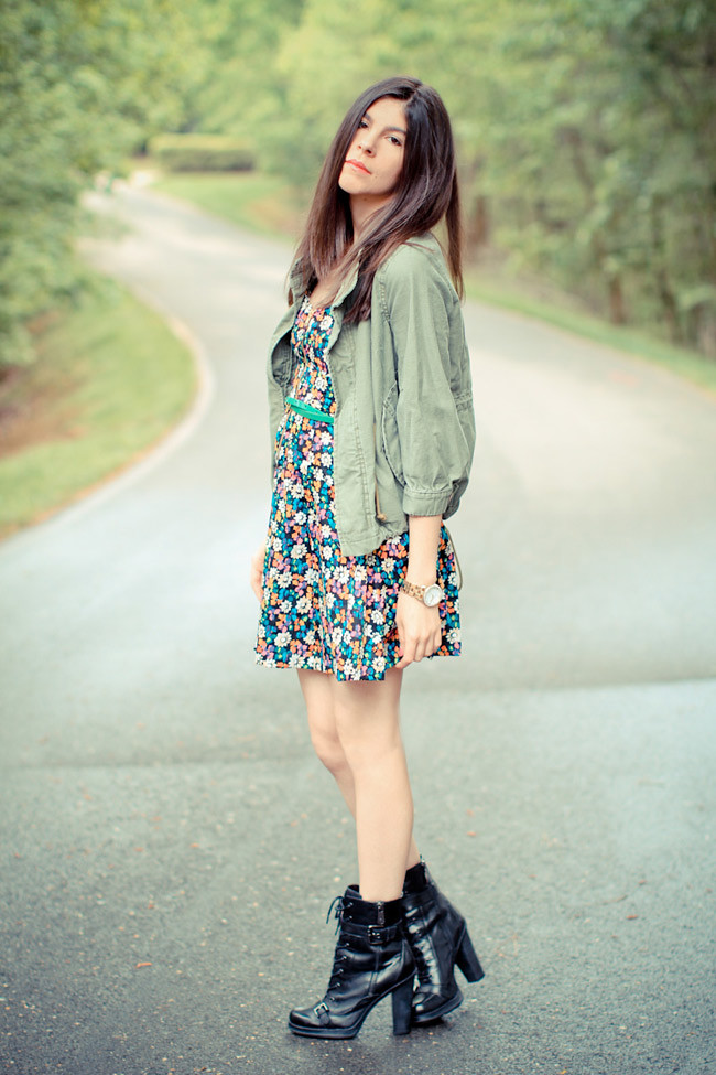 French Connection Floral Print Dress, Guess Combat boots, Utility Jacket