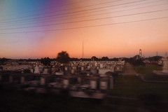 cemetery thru sunglasses (skippy haha) Tags: train neworleans alabama crescent amtrak tuscaloosa damage jazzfest tornado skippyhaha