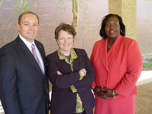 Deputy Secretary Merrigan is greeted at Mississippi State University by President Mark Keenum (left) and USDA Rural Development State Director Trina George.