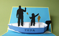 Father's Day Fishing Pop-up (cornerstonelae) Tags: fish water silhouette paper boat 3d fishing day father son card boating catch motor popup etsy greeting fathers