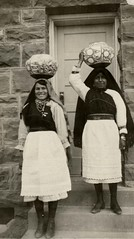 Zuni girls carrying bowls, 1920?  1940? (Marquette University Archives) Tags: new art portraits mexico native labor indian pueblo american zuni
