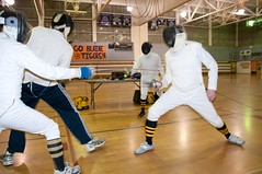 2 on 2 Epee Fencing (SQKnSEA) Tags: seattle sports washington fencing recreation gym epee longshot infocus fourpeople communitycenter highquality fdl 2v2 2on2 oneface