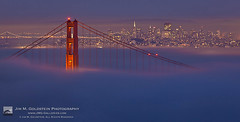 San Francisco Foggy Evening View (jimgoldstein) Tags: sanfrancisco california travel sunset weather fog skyline night golden gate unitedstates dusk goldengatebridge citylights coittower northamerica jmggalleries jimmgoldstein canon5dmarkii