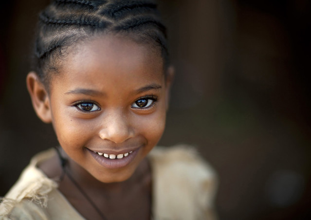 smiling little girl, Miss Yemata, Tipi village  Ethiopia