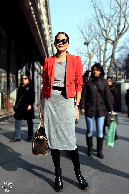 Grey sheath dress w Red Blazer