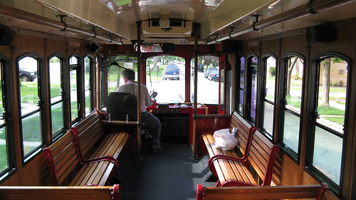 Foreward interior view of a Chicago Rolls Royce Limosine Company trolley bus. Elmwood Park Illinois USA. May 2011. by Eddie from Chicago