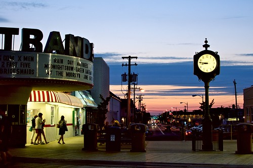The boardwalk clock at dusk.