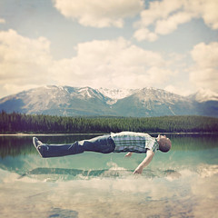 Elevation (38/365ish) (Shawn Van Daele) Tags: portrait lake selfportrait ontario canada man mountains nature clouds photomanipulation vintage square aqua jasper dream floating levitation peaceful fantasy alberta squareformat 365 wilderness plaid float elevation levitate elevate jasperalberta 365days 52week shawnvandaele renaissancestudiosphotography
