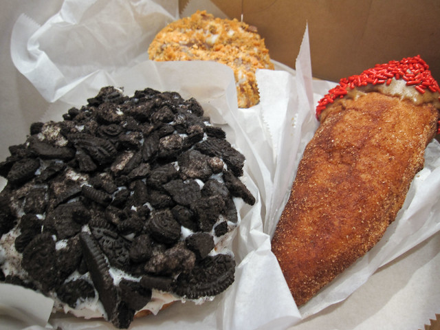 Voodoo Doughnuts' Dirt doughnut and others