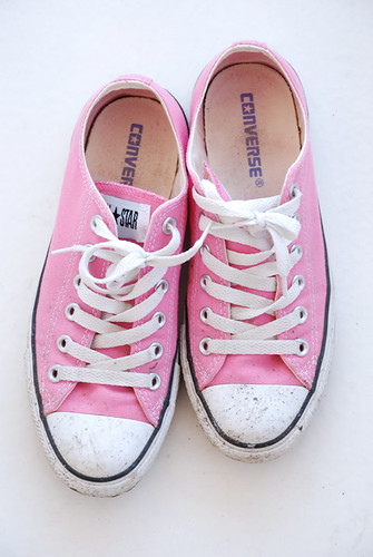 Don't wear pink Chucks in a muddy garden