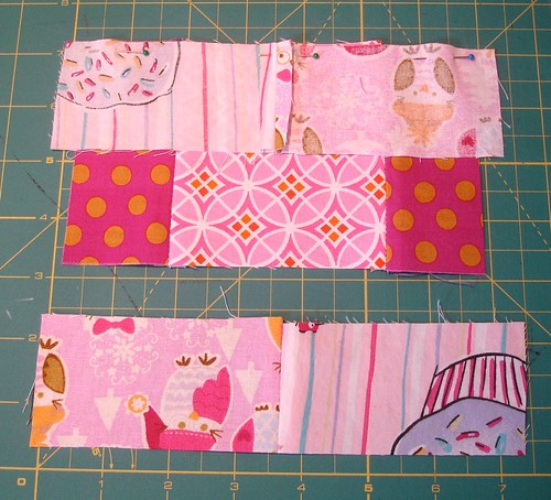 Altered Four Square Quilt Block Tutorial: Pinning the Top of the Framing Pair